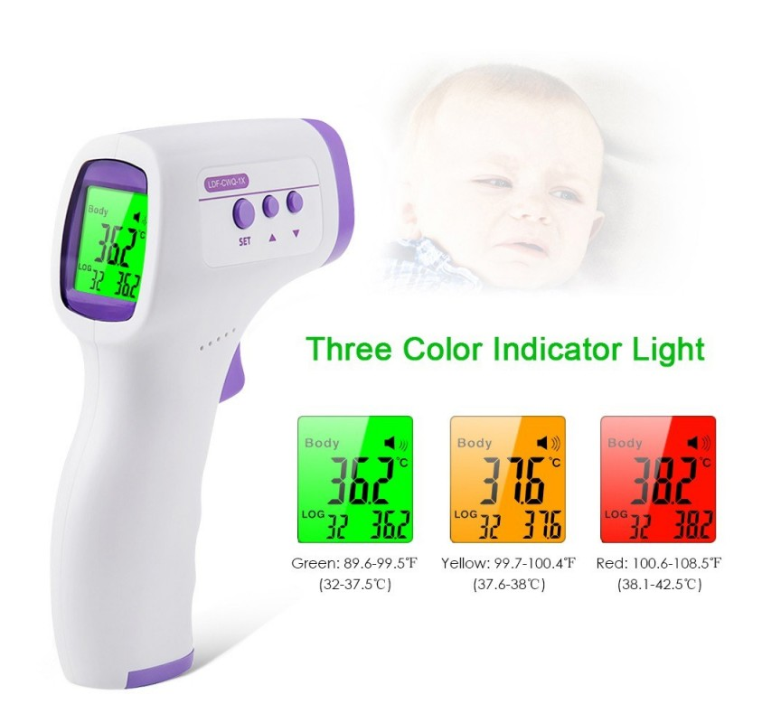 Yunzyun LCD Digital Non-Contact Term/ómetro Forehead Body Temperature Tool 3 Color LCD Backlight Memory Function Ear Scanner Body Object Temperature Measure Blue